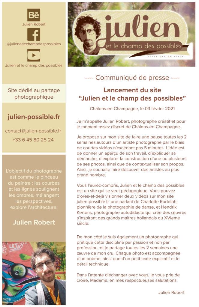 Communique de Julien Robert photographe de Châlons-en-Champagne, pour Julien et le champ des possibles