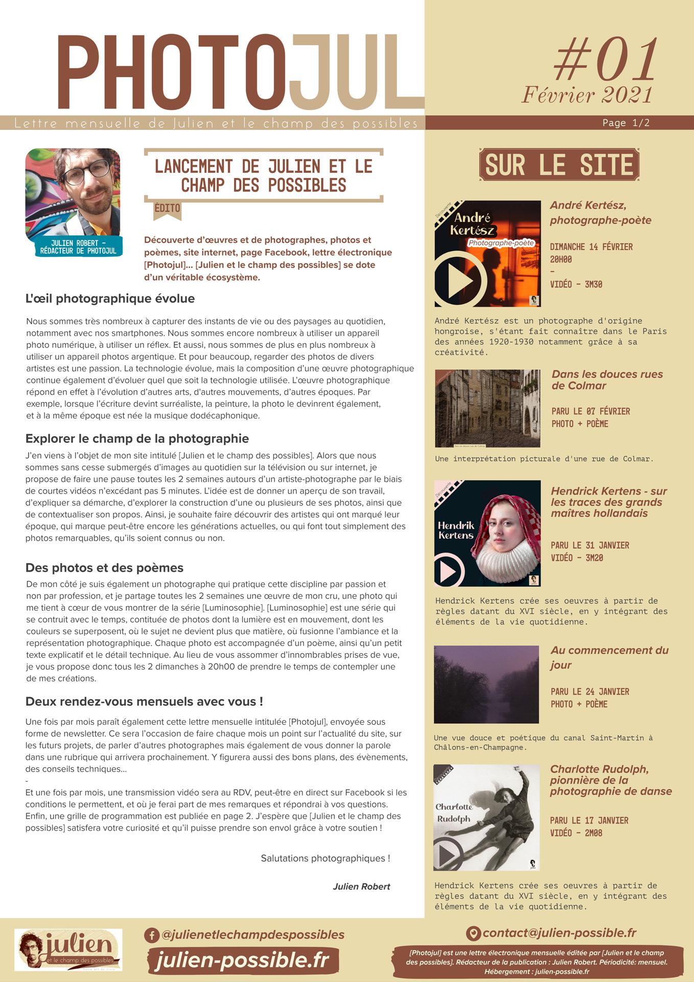Photojul #01 - Février 2021 - Page 01 - Julien et le champ des possibles - Julien Robert photographe