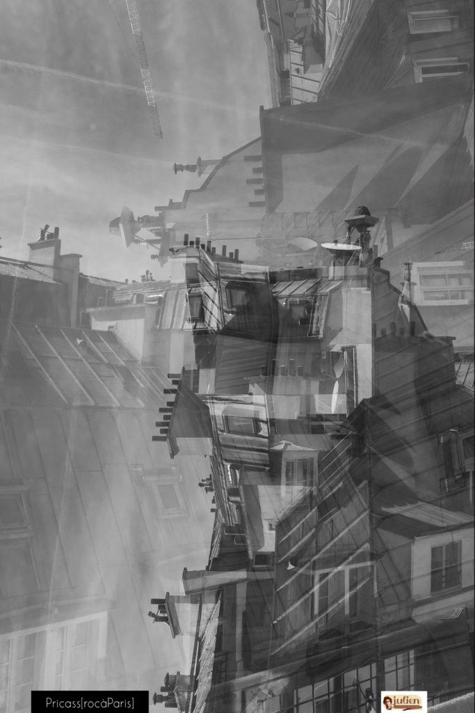 Pricass[àparis@ Julien Robert 2018, vue sur les toits de Paris au 59 Rivoli en surimpression