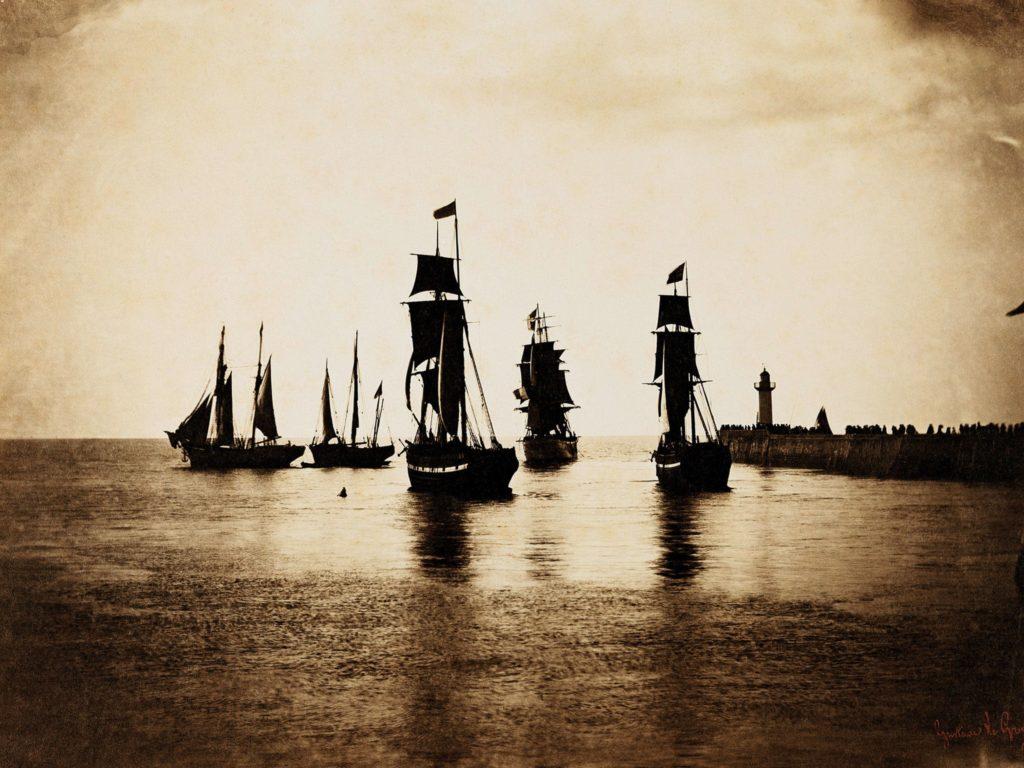 Navires quittant le port du Havre 1856-57 par Gustave Le Gray, sur Julien et le champ des possibles, Julien Robert photographe