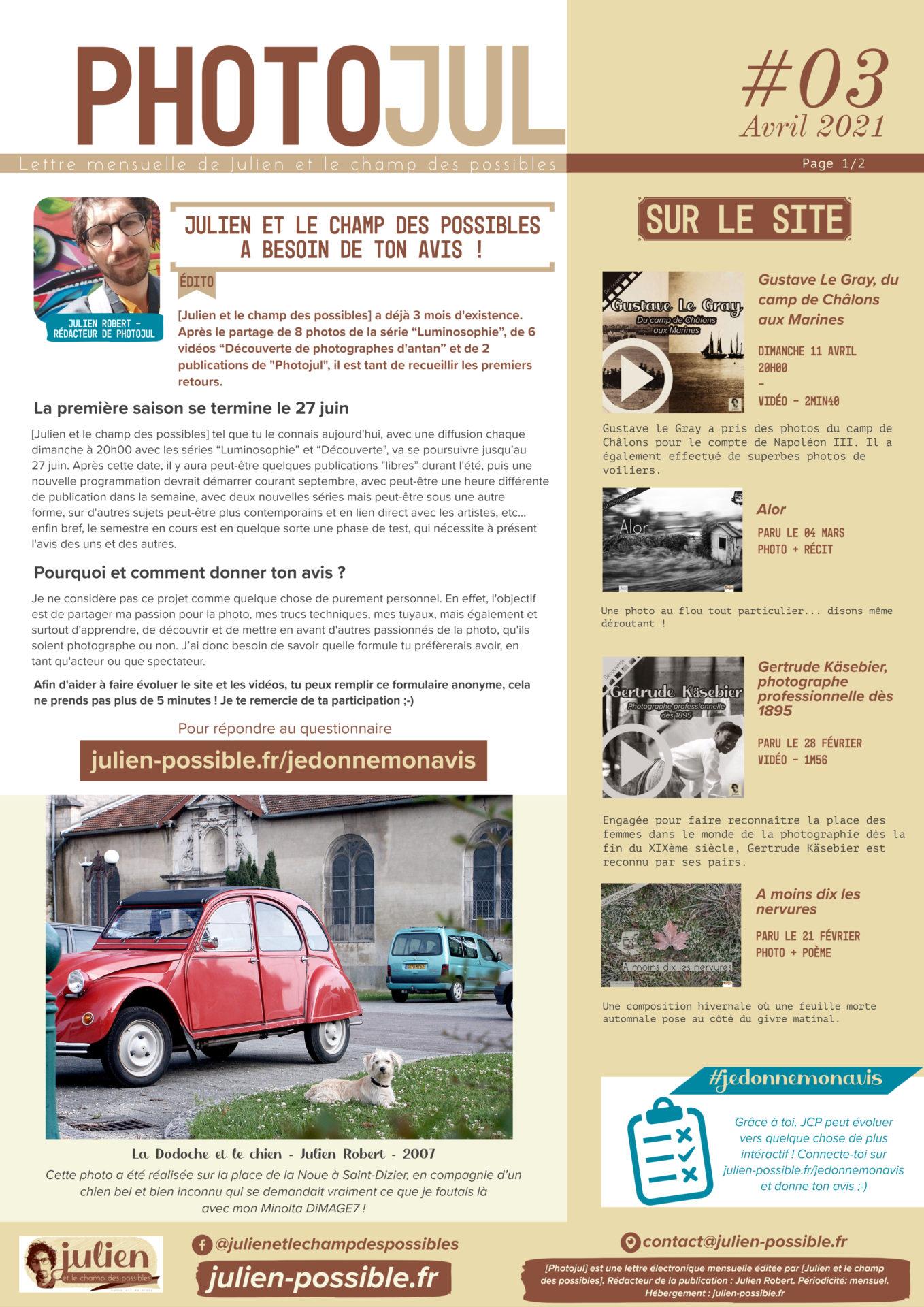 Photojul #03, avril 2021, lettre mensuelle de Julien et le champ des possible, rédacteur Julien Robert, photographe de Châlons-en-Champagne, page 1/2