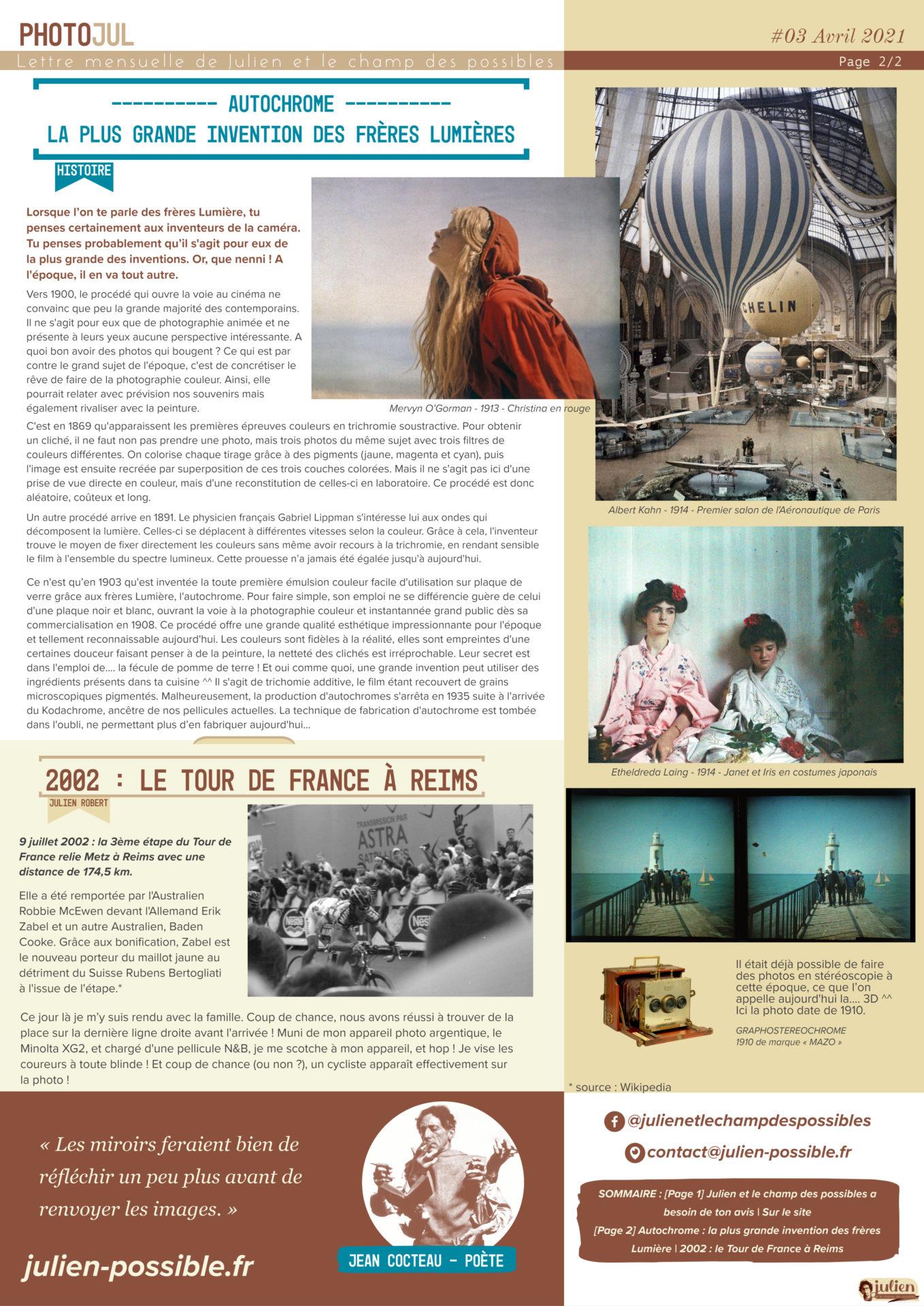 Photojul #03, avril 2021, lettre mensuelle de Julien et le champ des possible, rédacteur Julien Robert, photographe de Châlons-en-Champagne, page 2/2